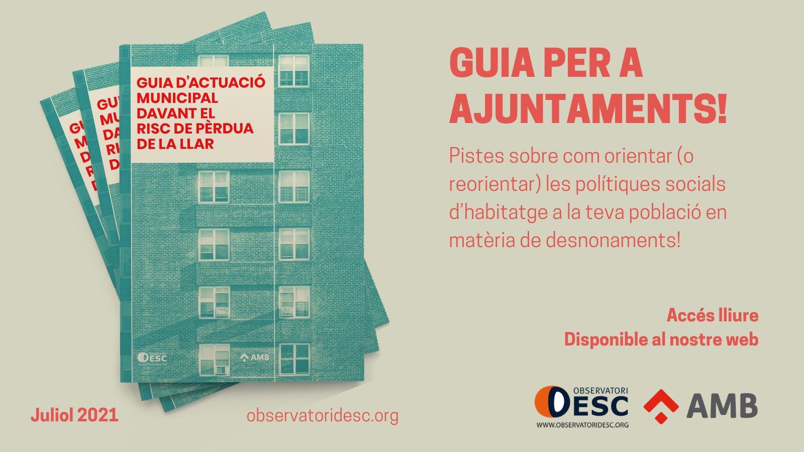 L'Observatori DESC publica una Guia d'atenció municipal a persones amb problemes d'habitatge